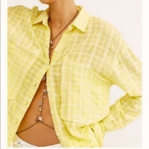 Free People Loveland Woven Plaid Button Up Yellow